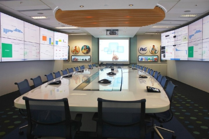 P&G 本社の経営会議室、様々なDataにもReal Timeにアクセス可能