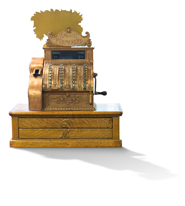 an old style cash register.